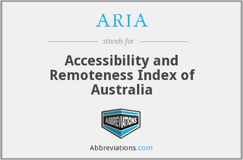 ARIA - Accessibility and Remoteness Index of Australia