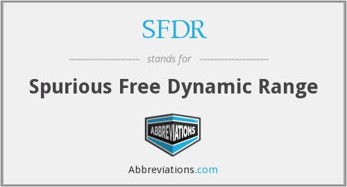 What does SFDR stand for?