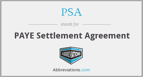 PSA - PAYE Settlement Agreement