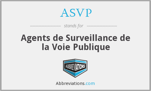 What does ASVP stand for?