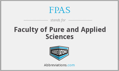 FPAS - Faculty of Pure and Applied Sciences