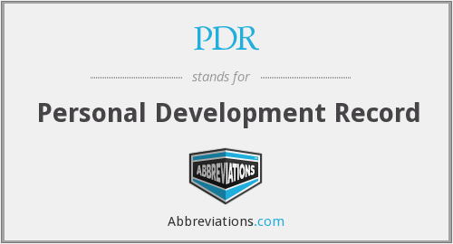 PDR - Personal Development Record