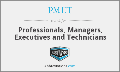 What does PMET stand for?