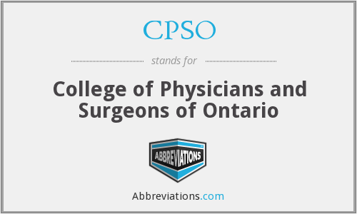 CPSO - College of Physicians and Surgeons of Ontario