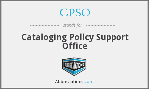 CPSO - Cataloging Policy Support Office