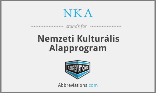 NKA - Nemzeti Kulturális Alapprogram