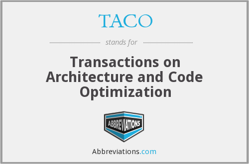 TACO - Transactions on Architecture and Code Optimization