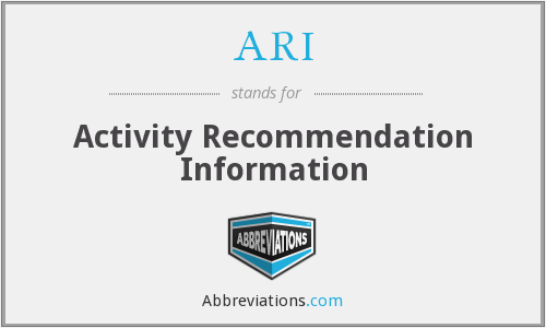ARI - Activity Recommendation Information
