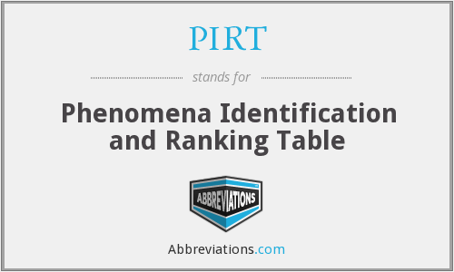 PIRT - Phenomena Identification and Ranking Table