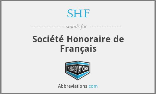 SHF - Société Honoraire de Français