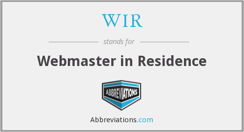 WIR - Webmaster in Residence