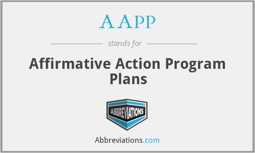 AAPP - Affirmative Action Program Plans