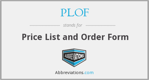 PLOF - Price List and Order Form
