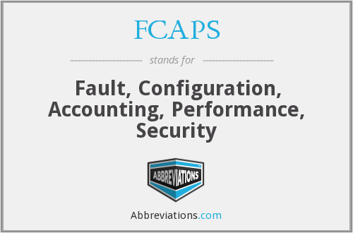 FCAPS - Fault, Configuration, Accounting, Performance, Security