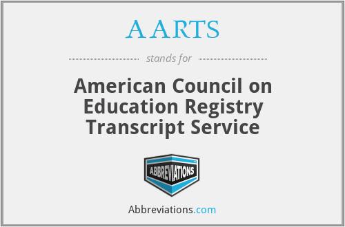 AARTS - American Council on Education Registry Transcript Service