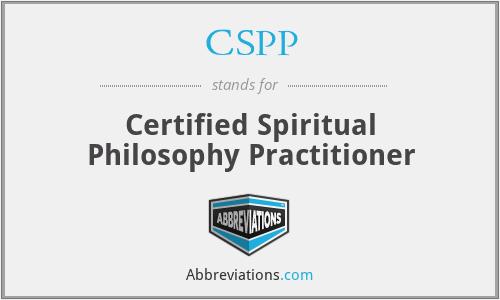 CSPP - Certified Spiritual Philosophy Practitioner