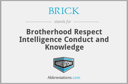 BRICK - Brotherhood Respect Intelligence Conduct and Knowledge