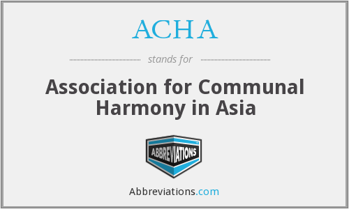 ACHA - Association for Communal Harmony in Asia
