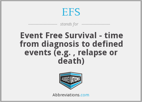 EFS - Event Free Survival - time from diagnosis to defined events (e.g. , relapse or death)