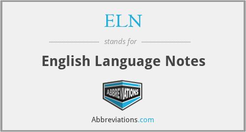 ELN - English Language Notes