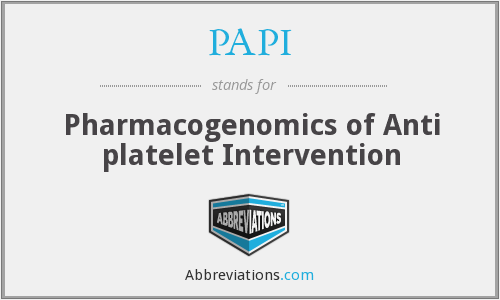 PAPI - Pharmacogenomics of Anti platelet Intervention