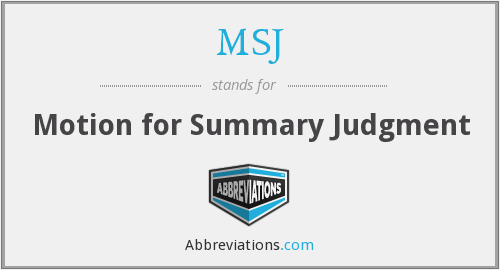 MSJ - Motion for Summary Judgment