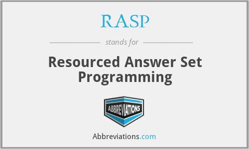 RASP - Resourced Answer Set Programming