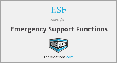ESF - Emergency Support Functions