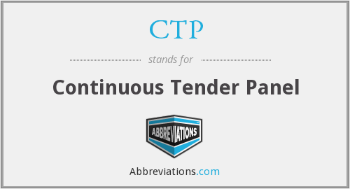 CTP - Continuous Tender Panel