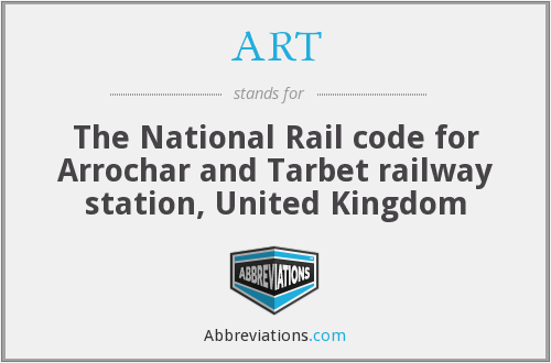 ART - The National Rail code for Arrochar and Tarbet railway station, United Kingdom
