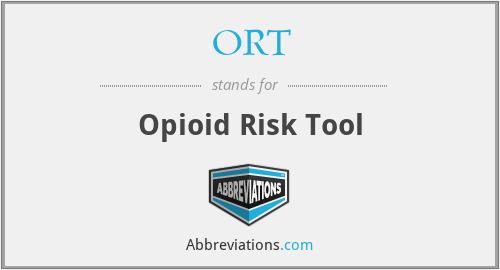 ORT - Opioid Risk Tool