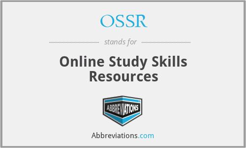 OSSR - Online Study Skills Resources