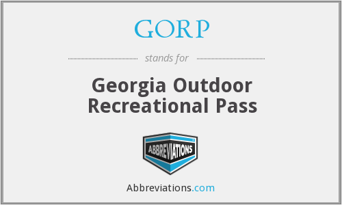 GORP - Georgia Outdoor Recreational Pass