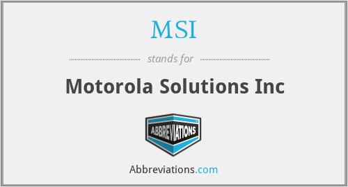 MSI - Motorola Solutions Inc