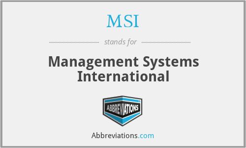 MSI - Management Systems International