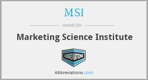 MSI - Marketing Science Institute
