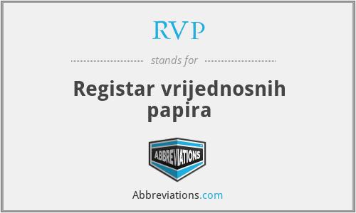 RVP - Registar vrijednosnih papira
