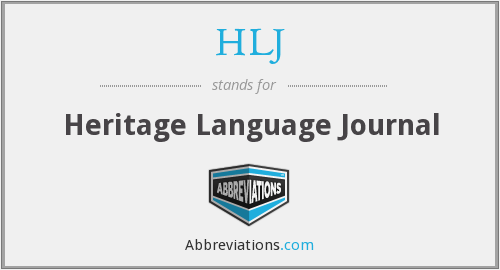 HLJ - Heritage Language Journal