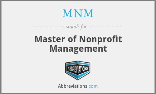 MNM - Master of Nonprofit Management