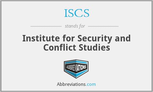 ISCS - Institute for Security and Conflict Studies