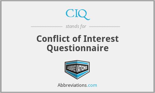 CIQ - Conflict of Interest Questionnaire