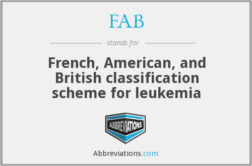 FAB - French, American, and British classification scheme for leukemia