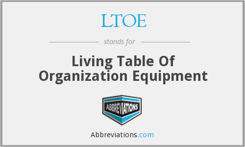 LTOE - Living Table Of Organization Equipment