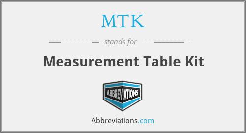 MTK - Measurement Table Kit