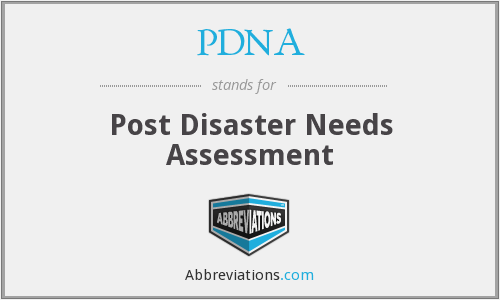 PDNA - Post Disaster Needs Assessment