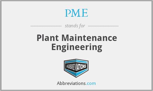 PME - Plant Maintenance Engineering