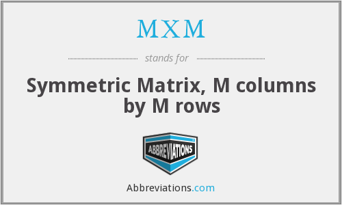 MXM - Symmetric Matrix, M columns by M rows
