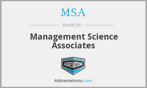 MSA - Management Science Associates