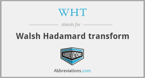 WHT - Walsh Hadamard transform