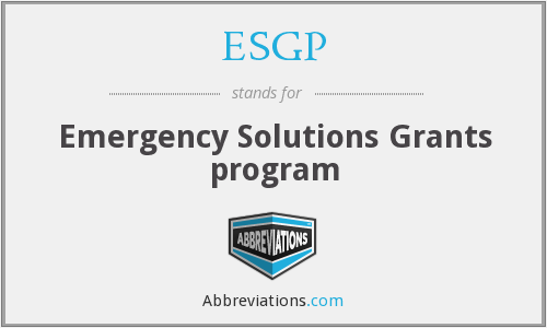 ESGP - Emergency Solutions Grants program